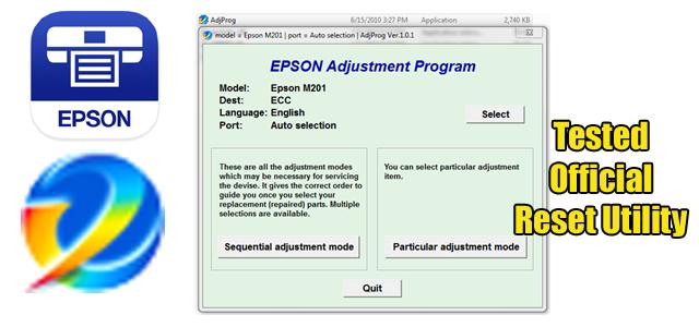 Epson M201 Adjustment program (Reset Utility)