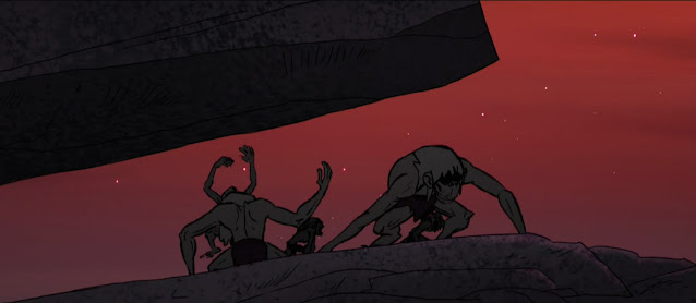 A rocky overhang provides shelter to three ape-like hominids. Behind them the sky is a pinkish-red.