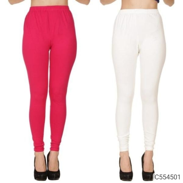 Women's Top-Quality Cotton Solid Leggings Combo of 2