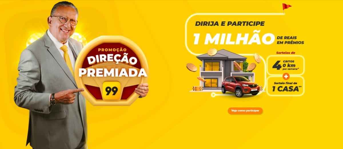Participar Promoção Direção Premiada 99 Sorteio Casa e Carros - Galvão Bueno