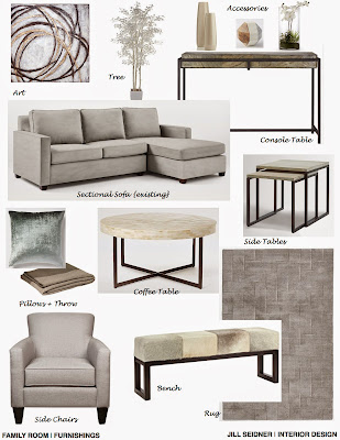 Ontario Canada Online Design Project Family Room Furnishings Concept Board