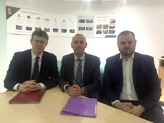 Secretary of State for Business, Greg Clark; Leader of North Lincolnshire Council, Cllr Rob Waltham, from Brigg; and Parliamentary Under-Secretary, Andrew Stephenson, meeting at British Steel in Scunthorpe - see Nigel Fisher's Brigg Blog