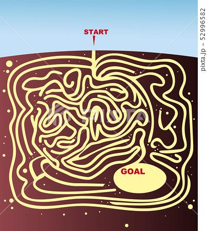 迷路, 地中, 巣穴, 洞窟, パズル, クイズ, イラスト, ベクター素材, 複雑, スタート, ゴール, 地面, 青空, コピースペース, 迷路素材, 道, 自然, 背景, バックグラウンド, ベクトル素材, ベクターデータ, ベクター画像, 正解, 問題, 地層, ゲーム, 土, 茶色