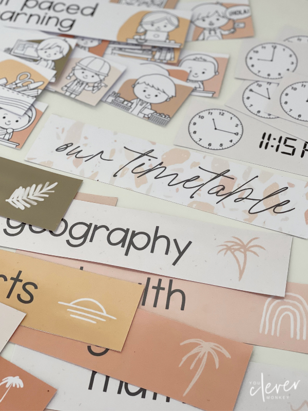 BOHO SUMMER Classroom Timetable Pack - Simple, stylish modern boho inspired classroom decor with a retro 70's summer feel is just what you need this back to school to create an inviting classroom   you clever monkey