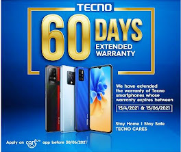tecno extended 60days extra warranty on mobiles