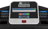 "Xterra Fitness TR150 Treadmill's console, image, with 5"" LCD display, 12 preset programs"