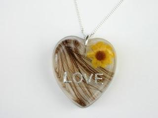 Hair and sunflower keepsake necklace