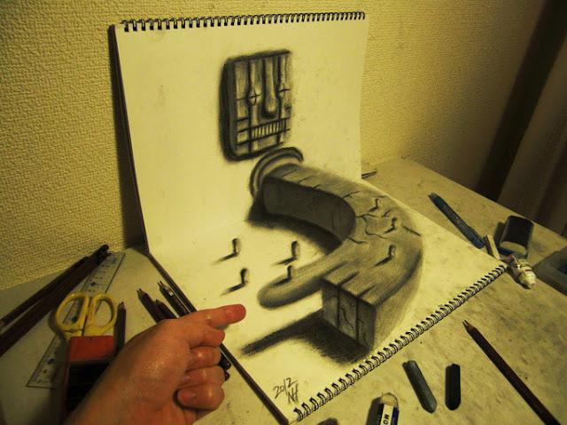Amazing Nagai Hideyuki 3D Illusion Sketch Art Point