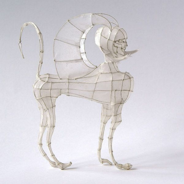 geometric 3D wire form of sphinx covered with translucent paper