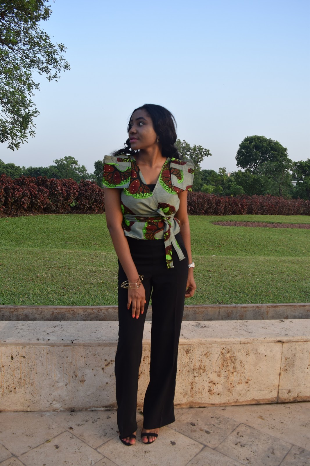 Ankara wrap top and black pants