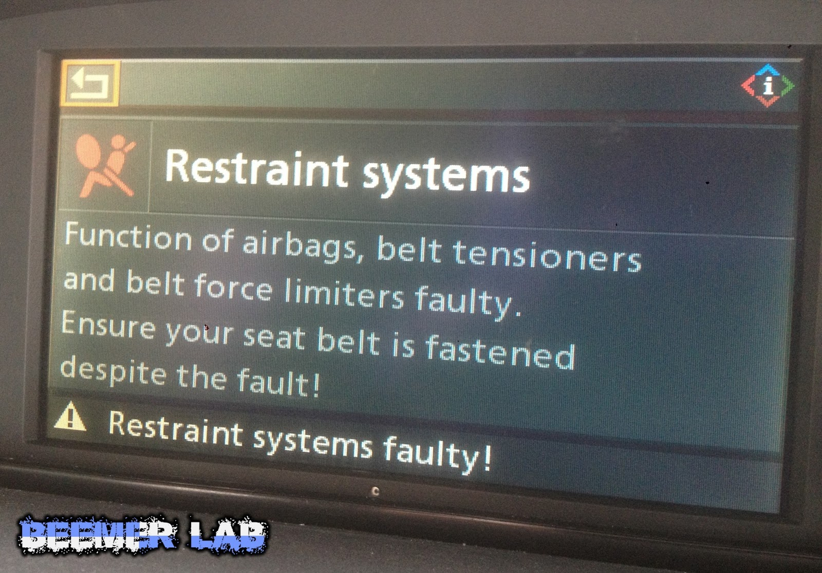 beemer lab idrive safety systems disabled faults explained codes further bmw restraint system malfunction on bmw e88 fuse diagram [ 1600 x 1116 Pixel ]
