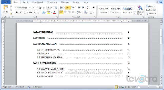 Membuat Daftar isi Makalah Otomatis dan Rapih di Microsoft Word