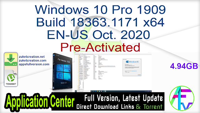 Windows 10 Pro 1909 Build 18363.1171 x64 EN-US Oct. 2020 Pre-Activated