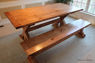 Custom Farmhouse Trestle Table with Bench