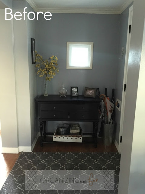 Before: Drab and boring entry area :: OrganizingMadeFun.com