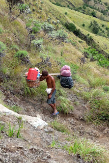 Porters, local people, Trekking mount Rinjani Indonesia