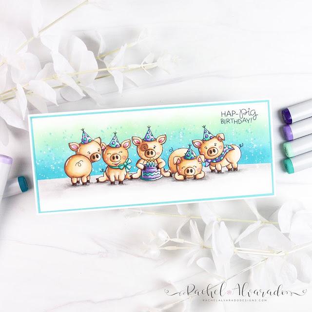 Pig Birthday Card by July Guest Designer Rachel Alvarado | Oin Stamp Set by Newton's Nook Designs #newtonsnook #handmade