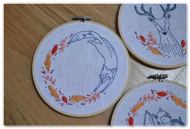 broderie renard et feuillage d'automne