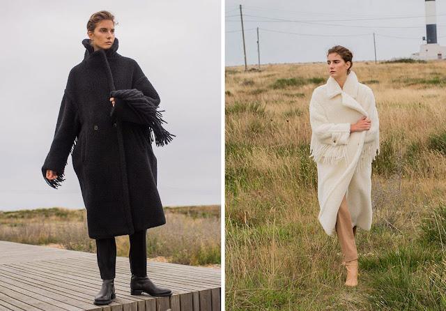 Черное и белое пальто с бахромой