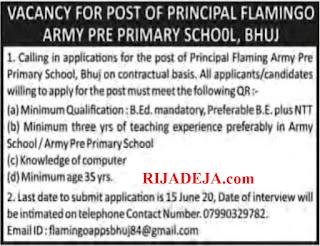 Flamingo Army Pre Primary School Bhuj Principal Recruitment 2020