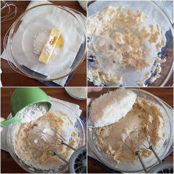 Preparación de la masa para las galletas polvorosas de coco, collage de 4 fotos