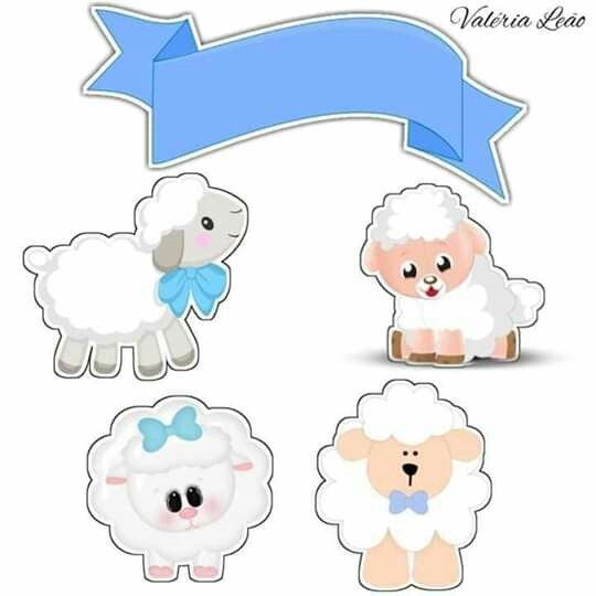 Little Sheeps in Light Blue: Free Printable Toppers.