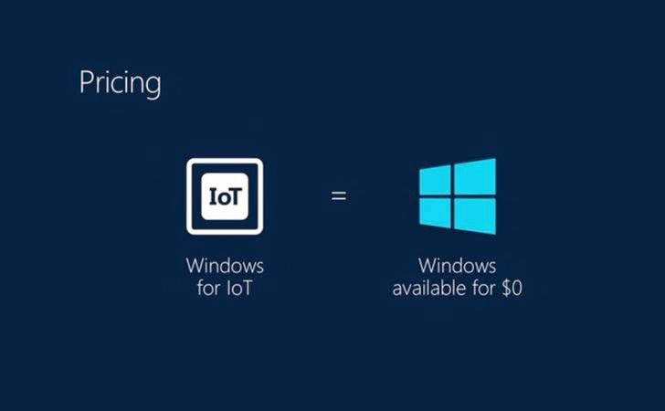 Free Microsoft Windows for the Internet of Things and Mobile Devices