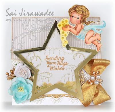 Shaker Star Easel Card Magnolia Tilda Captures Stars