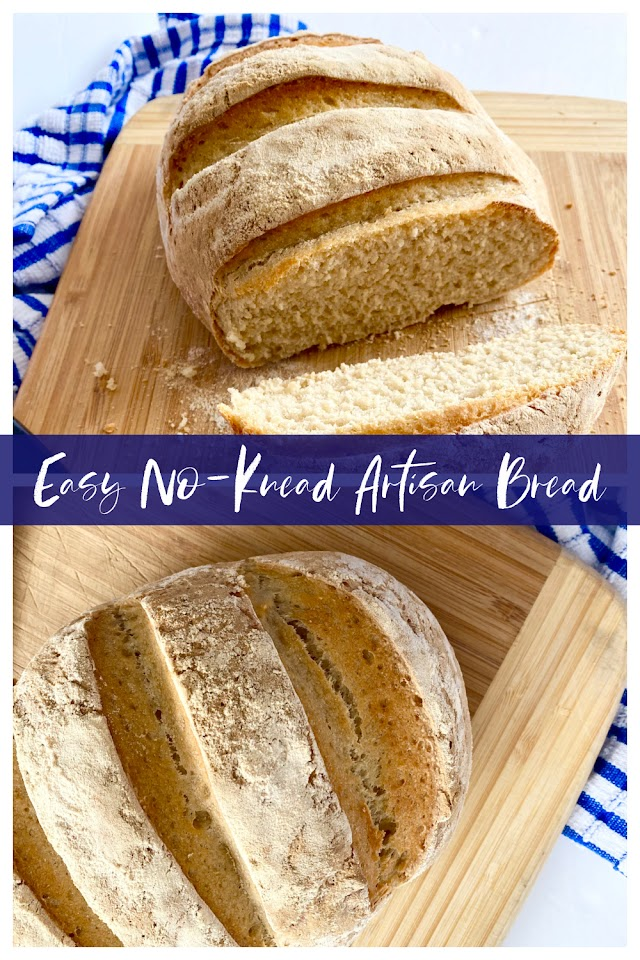 Easy No-Knead Artisan Bread...the easiest recipe for delicious, homemade bread! Just four simple ingredients and you'll be eating homemade bread all week long.