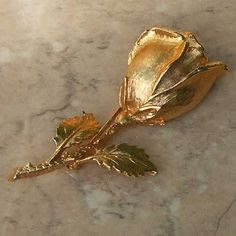 Large gold plated rose brooch by Exquisite