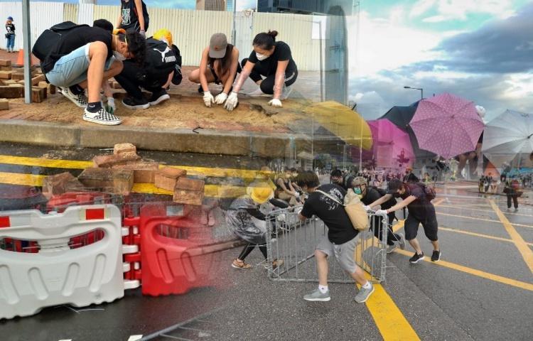 RUU ekstradisi Hong Kong: Mulai Memanas,Sebagian Pengunjuk Rasa Mulai Cungkil Batu Bata Hingga Memblokir Jalan