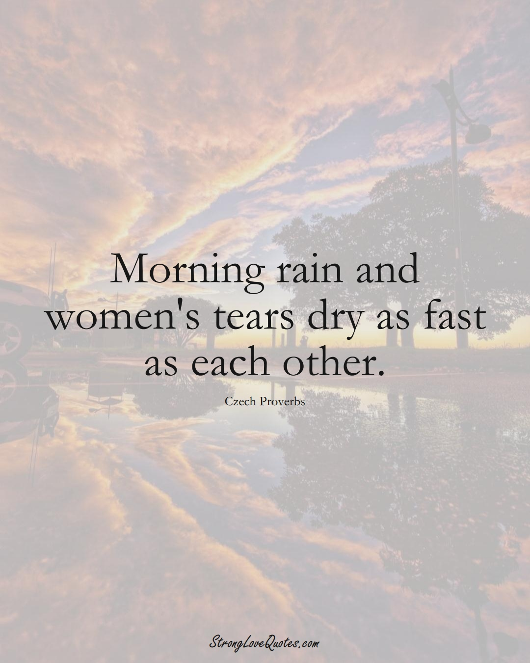 Morning rain and women's tears dry as fast as each other. (Czech Sayings);  #EuropeanSayings