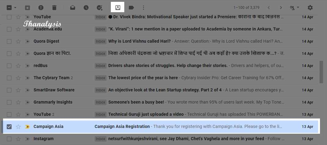 Move archive to the inbox in Gmail