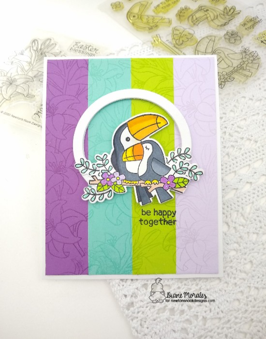 Be happy together by Diane features Toucan Party, Easter Lily, and Snow Globe Shaker by Newton's Nook Designs; #inkypaws, #newtonsnook, #cardmaking, #tropicalcards
