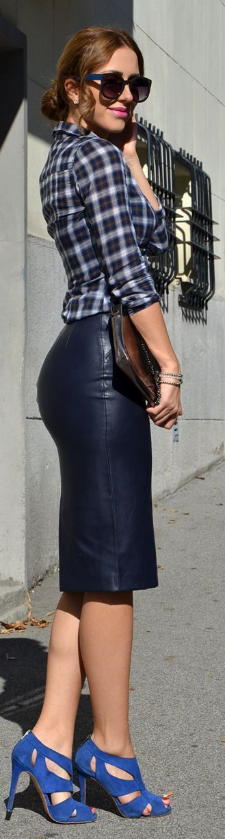 Street Style Plaid Shirt Leather Skirt And Heels Just