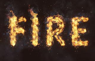 cara membuat efek teks api di photoshop