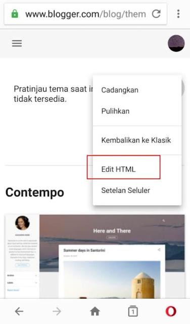 Letak Edit HTML di Dashboard Blogger Baru