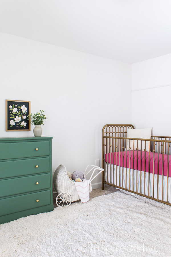 Pink and green modern traditional girl's nursery