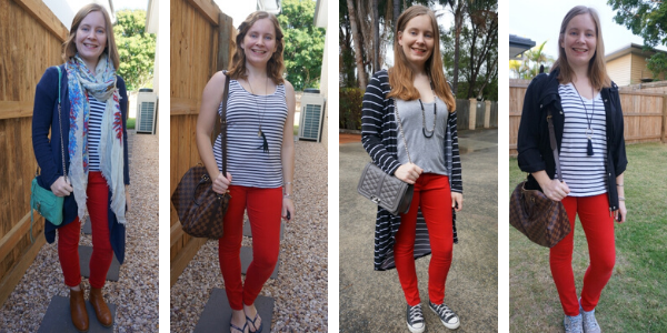 4 outfit ideas stripes and red skinny jeans mum style | away from the blue