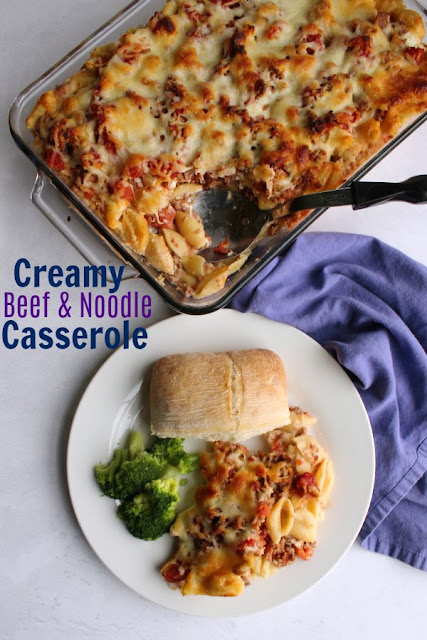 Ground beef and tomatoes come together in this creamy, cheesy casserole. It is a family pleasing dinner that is easy to make and is likely to be frequently requested.