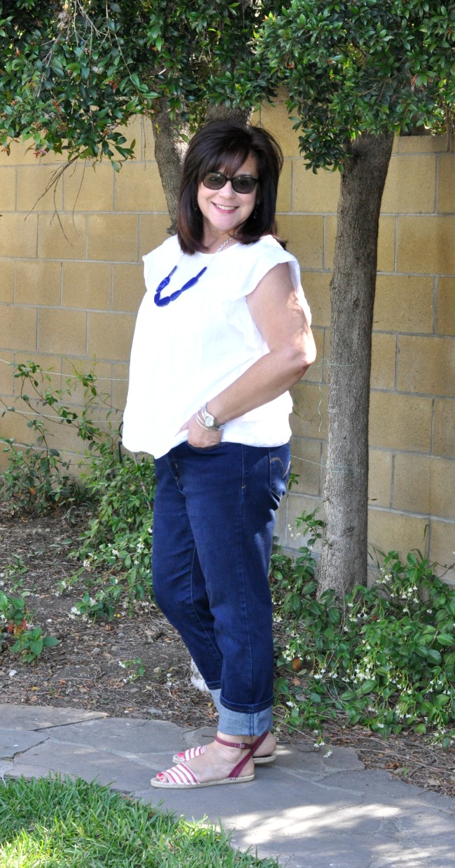 white blouse, blue jeans and espadrilles