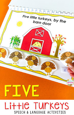 5 Best Thanksgiving storybooks plus activities for preschool and elementary speech therapy. Read the books, then grab an activity like this Five Little Turkeys interactive book. It comes with plenty of language activities for an entire no-stress turkey week! #speechsprouts #speechtherapy #slp  #sped #preschool #kindergarten #Thanksgiving