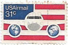 Selo avião, o globo e a bandeira