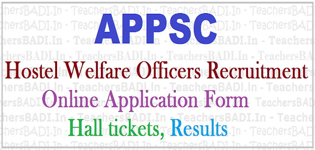 APPSC Hostel Welfare Officers Recruitment,hall tickets,Results, Online application