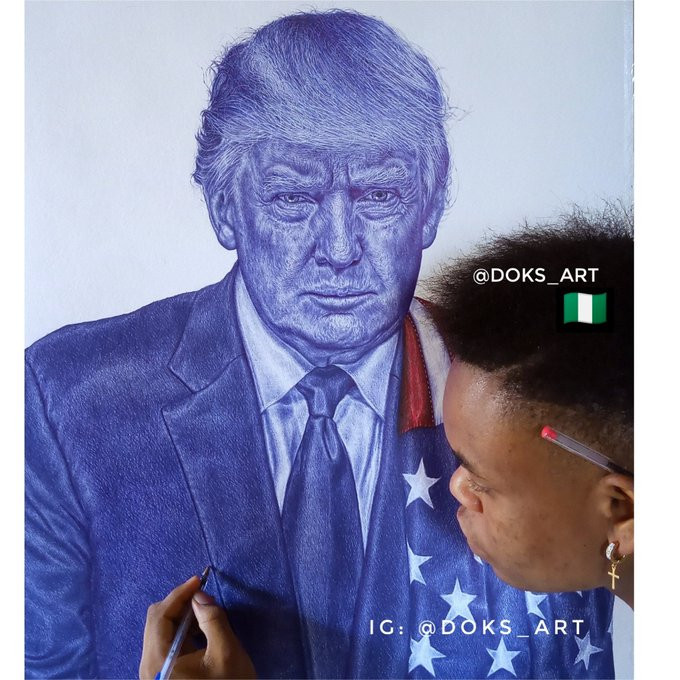 President Trump tells Nigerian boy who drew his portrait to Never give up on his dreams