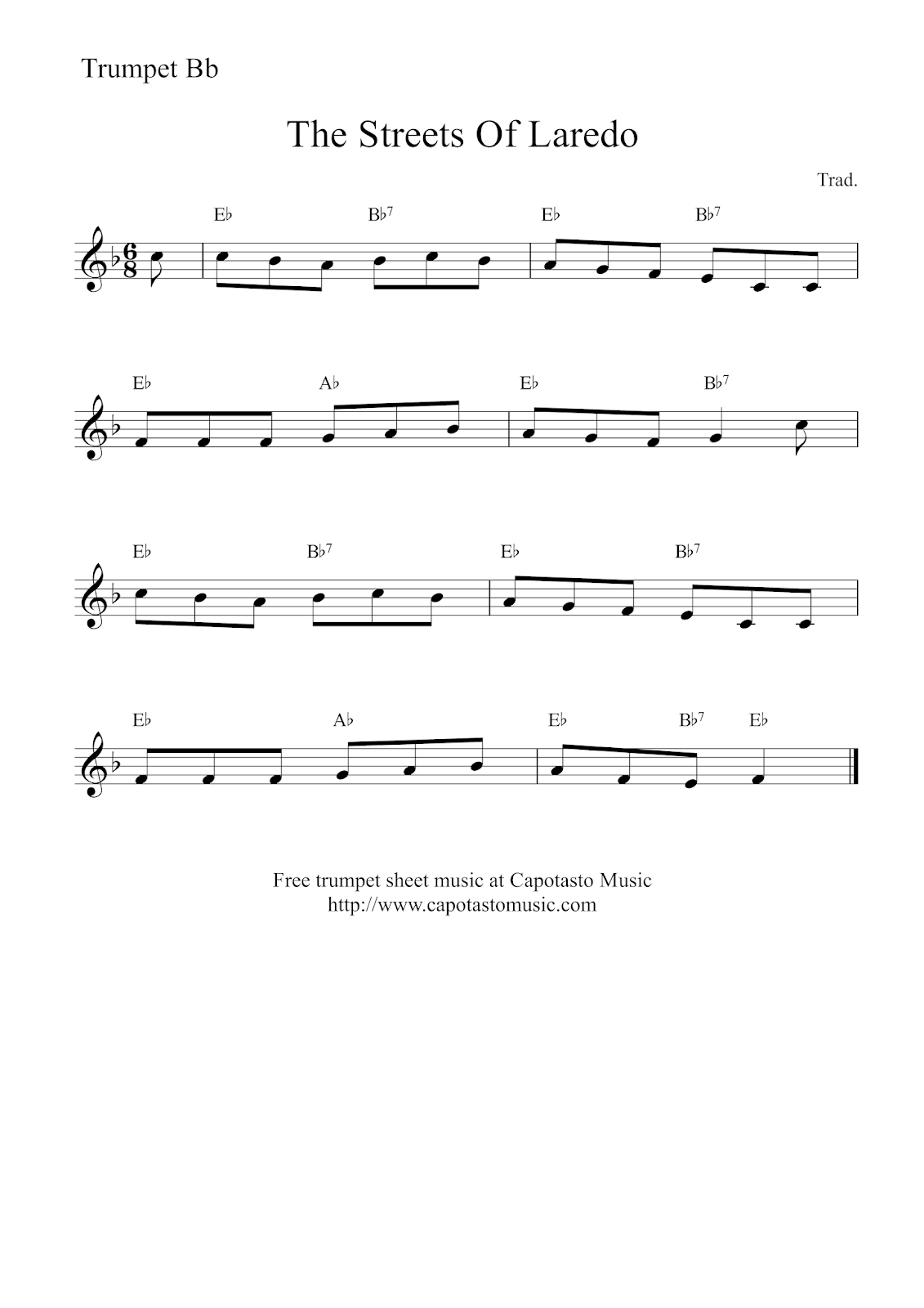 This is an image of Amazing Free Printable Sheet Music for Trumpet