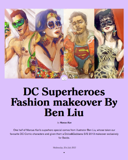 DC superheroes fashionable makeover in Dolce & Gabbana by Montreal illustrator Ben Liu, dress up Superman Catwoman, WonderWoman and Green Lantern