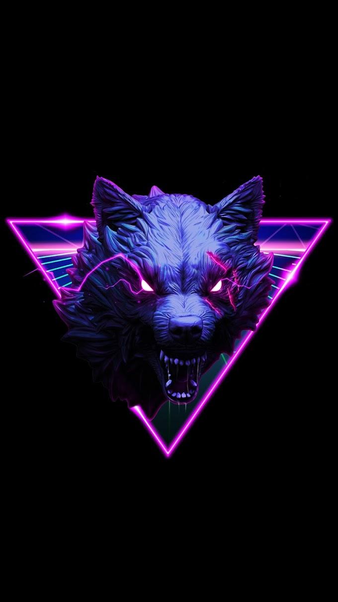 Papel de Parede Abstrato Lobo Neon