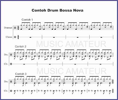contoh beat drum bossa nova partitur