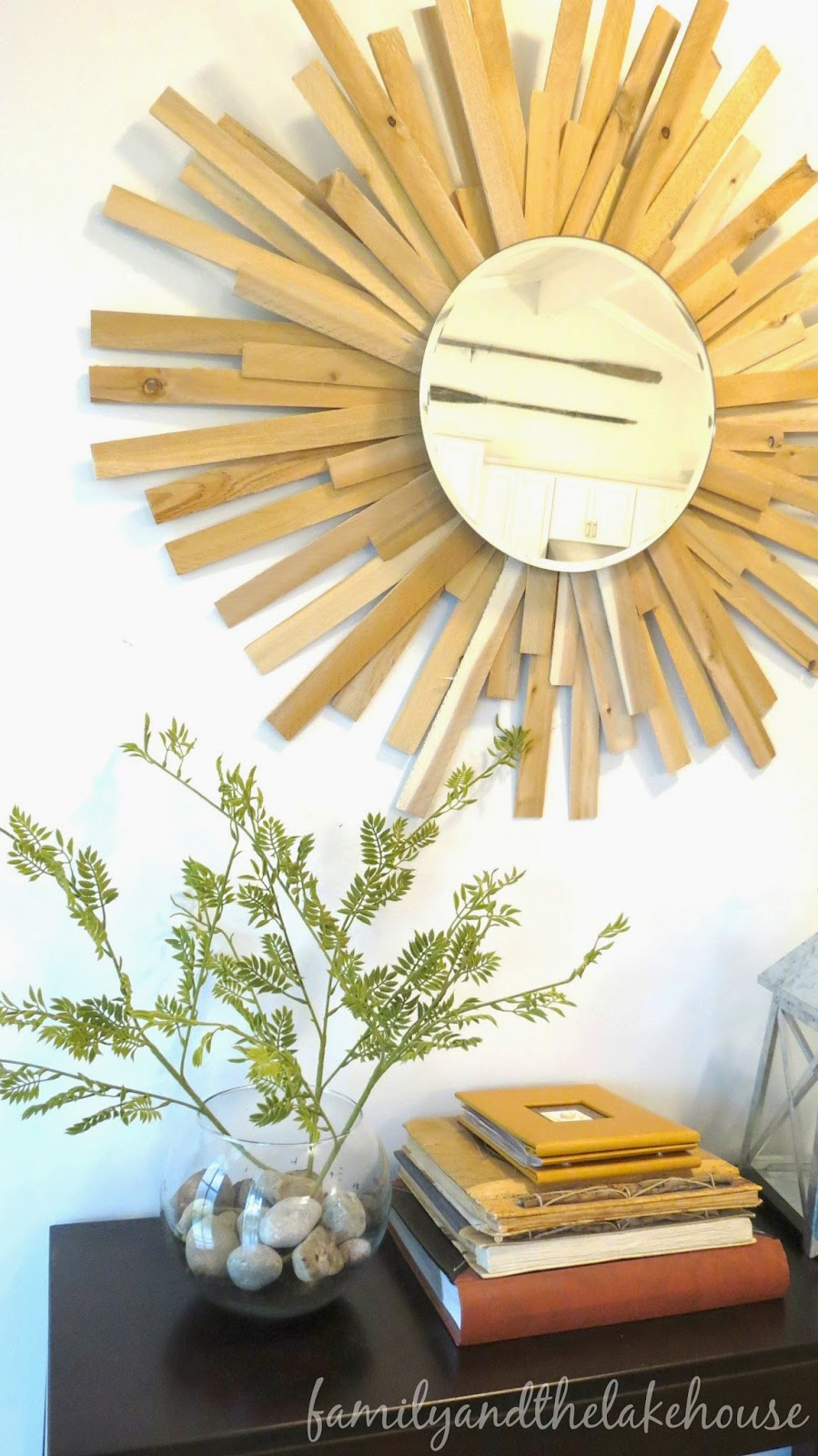 Family and the Lake House - Cedar Shim Sunburst Mirror
